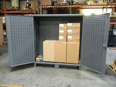 Durham Heavy Duty Bin Storage Cabinet 3-shelf 12 Ga. Steel Gray 78 X 72 X 24