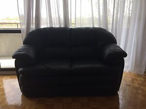 GENUINE LEATHER LOVE SEAT AND ARMCHAIR