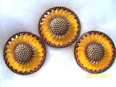 "CZECH GLASS BUTTONS (3 PCS) GORGEOUS 1 1/4"" (31mm) * XL 101"