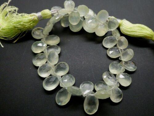 """Genuine Prehnite Gemstone Side Drilled Teardrop  Briolette Faceted Bead Std. 8"""""""