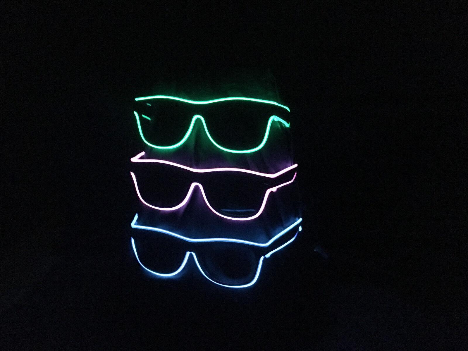 Leuchtbrille Dunkle Gläser Blinkbrille LED Brille Neon Party Fun Sonnenbrille