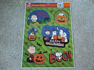 Peanuts Snoopy Linus Woodstock Halloween Window Cling Sheet, Set of 17 Green New
