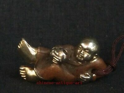 Rare Collection Old Chinese Copper Carving Propitious Boy Buddha Amulet Pendant