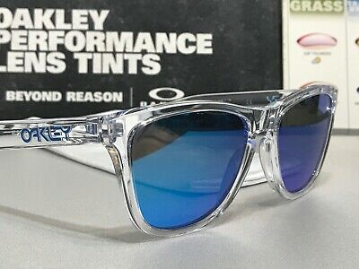 Oakley Frogskins Polished Clear Crystal Collection Sapphire Iridium SKU 9013-A6 (Clear Frogskins)