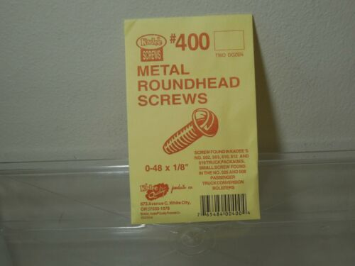 "Kadee #400 metal roundhead screws 0-48 x 1/8"" NIB  24 pieces in bag"