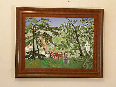 After Henri Rousseau 'EXOTIC MEADOW' Vintage Oil Painting Primitivism (Rousseau Oil Painting)