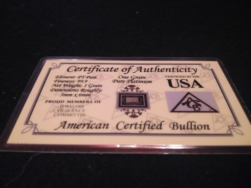 ACB Platinum BULLION MINTED 1GRAIN BAR 99.9 Pure PT SOLID With Certificate