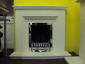 FIREPLACE FIRE SURROUND IN WHITE BRUSHED LIMESTONE  44