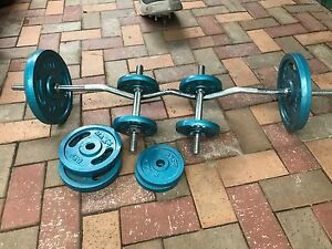 Weights set boxing bag bench press Holden Hill Tea Tree Gully Area Preview