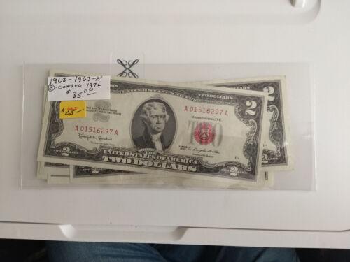 Five $2 Bills 1963, 63A, & 3 Consecutive 1976 #1