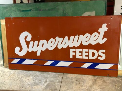 Large ORIGINAL Vintage SUPERSWEET FEEDS SIGN Farm Livestock Cattle Hogs Horses