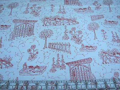 Scene Quilt Fabric - 3 Yards Quilt Cotton Fabric- Henry Glass Park Drive Garden Toile Scene Red White