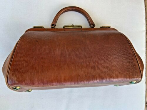 Antique signed French doctors leather bag