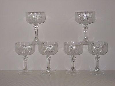 "Set 6 Cristal D'Arques LONGCHAMP 5 5/8"" Champagne Tall Sherbets Goblets Glasses"
