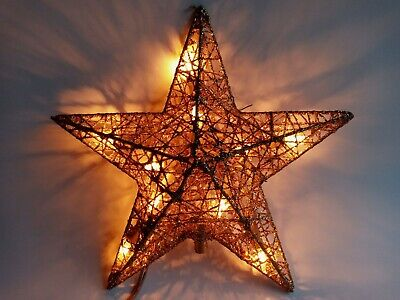120V Christmas Tree Star Topper Gold Glitter Ornaments Decorative Outfit Decor