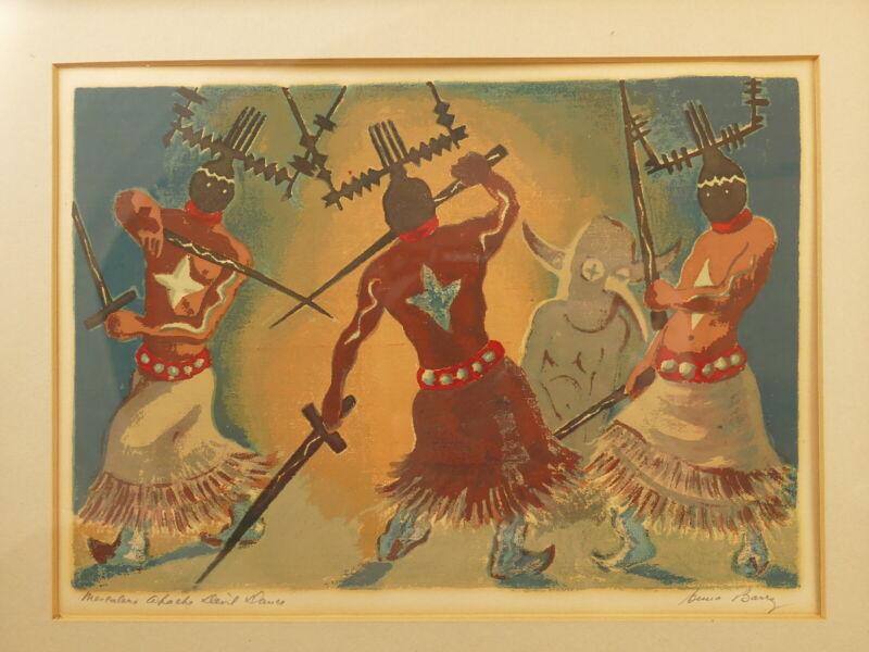 """ANNA BARRY """"MESCALERO APACHE DEVIL DANCE"""" PENCIL SGD SERIGRAPH 1940"""