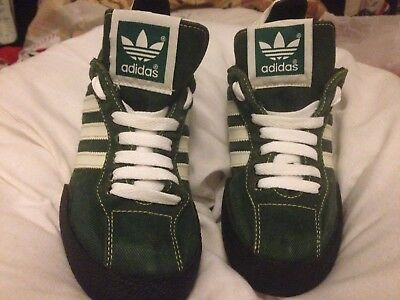 Vintage Adidas Trainers. Green Denim (jean) Purchased 1996/97