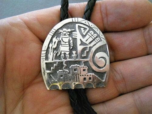 Native American Sterling Silver Kachina Pueblo Storyteller Overlay Bolo Tie