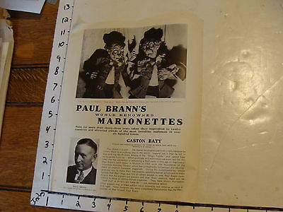Vintage MARIONETTE Paper: 1930's PAUL BRANN'S marionettes in English GASTON BATY