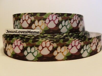 Grosgrain Ribbon Dog Paw Prints on Army Camo Animals Cats Rescue Adopt Me, - Paw Me