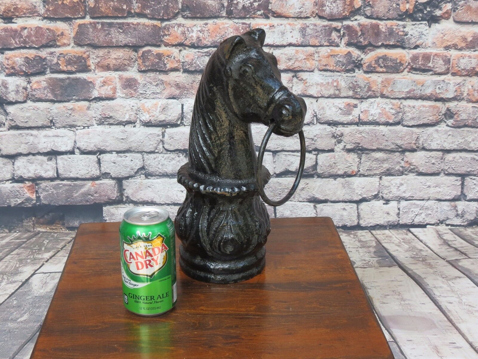 Antique American 19th c. Carved Cast Iron Hitching Post Horse Head With Ring