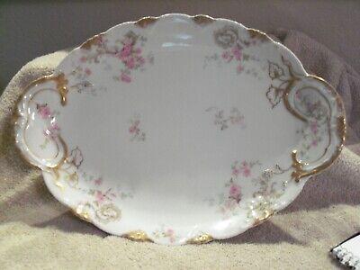 Delicate Pink Flowers by CFHGDM Antique Limoges Rectangular Lidded Serving Dish Fancy Gold Handles