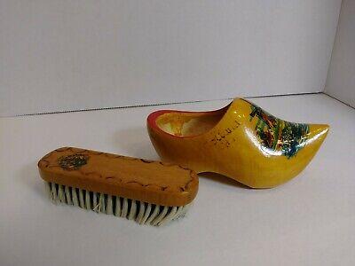 - Vintage~ signed Holland handpainted wood shoe ~with shoe brush