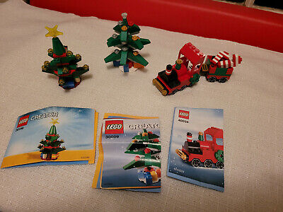 LEGO Christmas Set, Trees and Train  30009 , 30186 , 40034 pristine, ships fast!