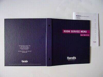2014 HARRAH'S CASINO, ATLANTIC CITY, NJ,3 RING BINDER, ROOM SERVICE MENU+SM MENU