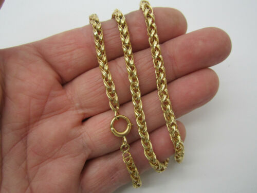 Wonderful Victorian Handmade 14k solid Yellow gold Twisted Rings Chain Necklace