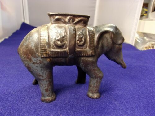 120yr old? VTG ANTIQUE CAST IRON BANK - ASIAN ELEPHANT WITH SADDLE & BLANKET