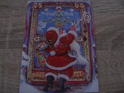 einfache Postkarte   Weihnachtsmann an der