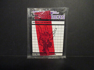NEW Transformers Kickback Instructions G1 Insecticons Sticker Sheet Booklet
