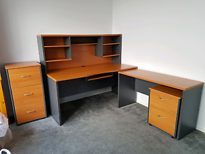 Desk - Hutch - Return - 2x Filing Cabinets 5 PIECE OFFICE PACKAGE Gilston Gold Coast West Preview