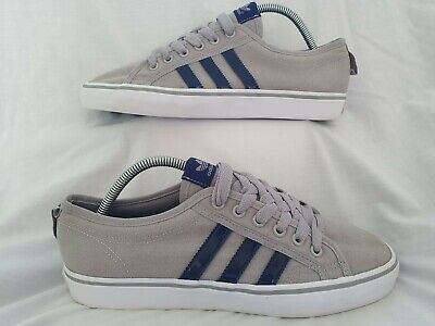 ADIDAS Nizza Grey Canvas Trainers/Shoes With Navy Stripes Size UK 9 - USED VVGC