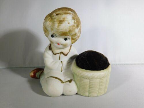 Vintage bisque Japan Pin Cushion Girl Figure