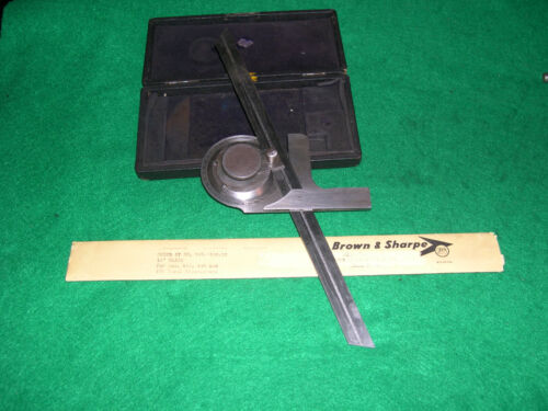 """Brown + Sharpe #495 Universal Bevel Protractor With 12"""" Blade"""