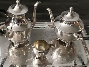 "Silver plated tea set.  ""Rogers"" made in Canada"
