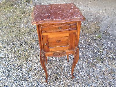 Ancien chevet meuble de chambre pied de lit bois marbre art populaire campagne