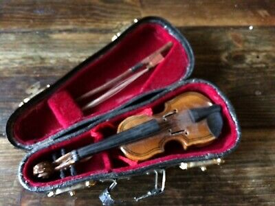 Vintage Miniature Violin and case/ dolls house collectable.