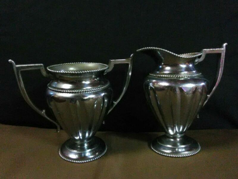 Antique Forbes Silver Co. Silver Plated Beaded Open Sugar Bowl & Creamer #186