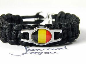 EM-2016-Belgio-Paracord-Cinturino-Acciaio-Inox-charm-flagge-fusball-belgium
