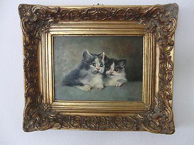 Ölbild von H. Fragut in Ornamentrahmen gerahmt * Katzen Kätzchen Katzenbabys