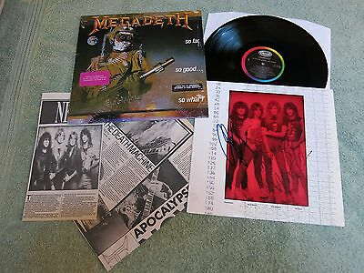 MEGADETH so far, so good…so what! US CAPITOL LP ~ AUTOGRAPHED INNER SLEEVE ~ C1-