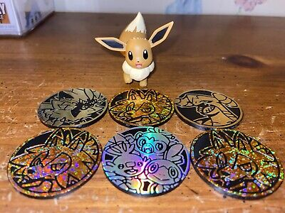 Wicked Cool Toys Pokemon Eevee Figure +Lot Of 6 TCG Dice Coins Lycanroc Garchomp