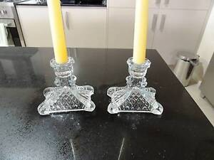 Vintage 2 cut glass/crystal candle holders - perfect @Maitland Aberglasslyn Maitland Area Preview