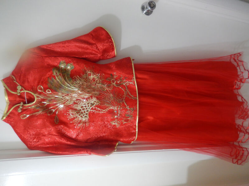 Brand-New Chinese traditional  long slap-up Red wedding dress