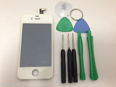 iPhone 4 AT&T GSM White Replacement LCD Digitizer Glass Assembly (i4GSM-WHT+TL Wht Lcd