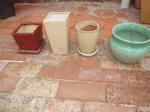 Garden Pots, Lovely Glazed Garden Pots x4, Bulk Lot Ormond Glen Eira Area Preview