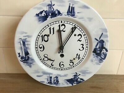 Great Antique China Wall Clock Flo Blue Dutch Windmill Design